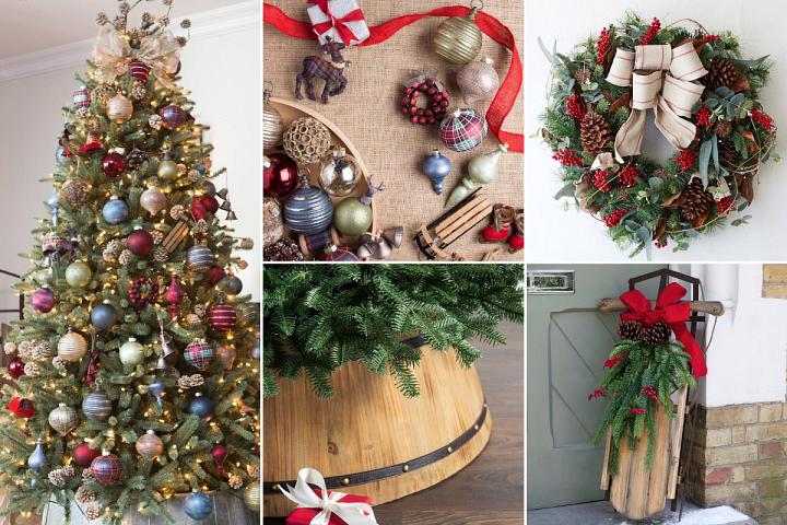 A collage of photos showcasing rustic, farmhouse-themed Christmas décor