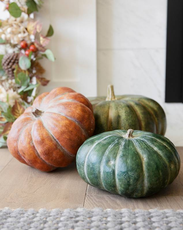Rustic Heirloom Pumpkins Set of 3 by Balsam Hill SSC
