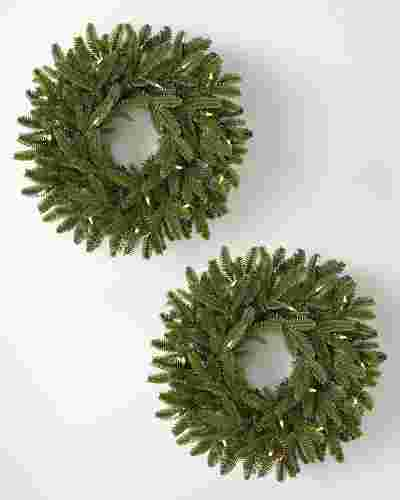 18 inches Clear LED BH Fraser Fir® Wreath, 2-Pack by Balsam Hill SSC