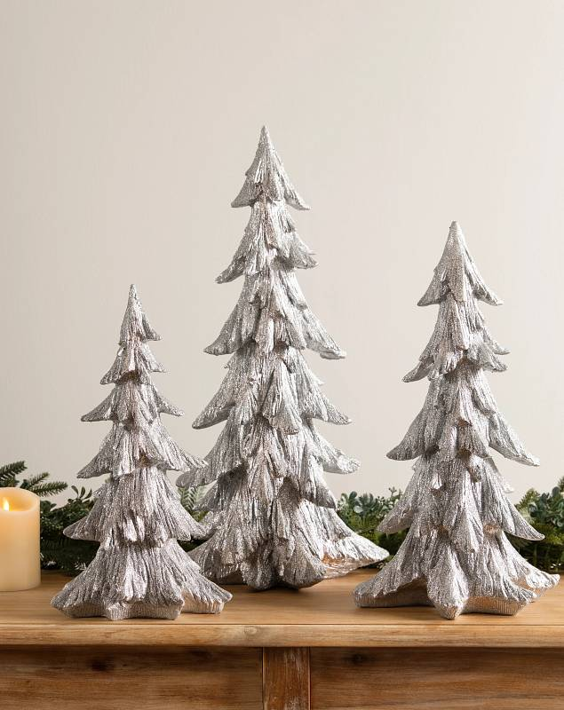 Silver Glitter Tabletop Trees by Balsam Hill SSC