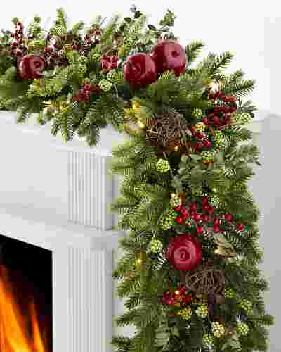 10 ft Clear LED BH Norway Spruce Holiday Garland by Balsam Hill SSC