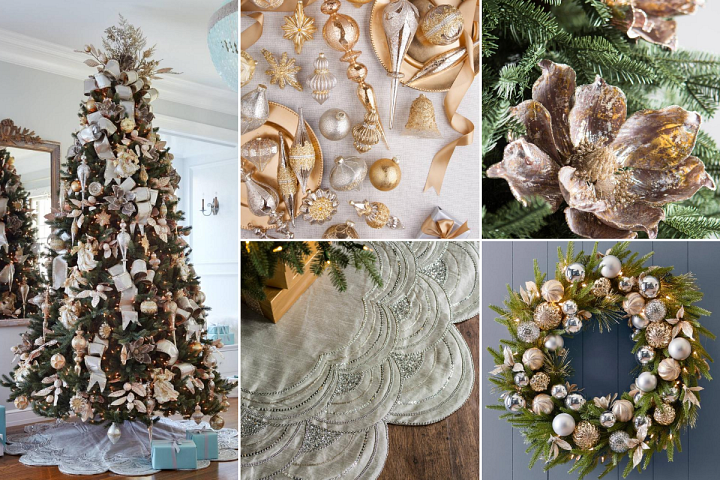 A collage of photos showcasing Christmas decorations in gold and silver metallic colours