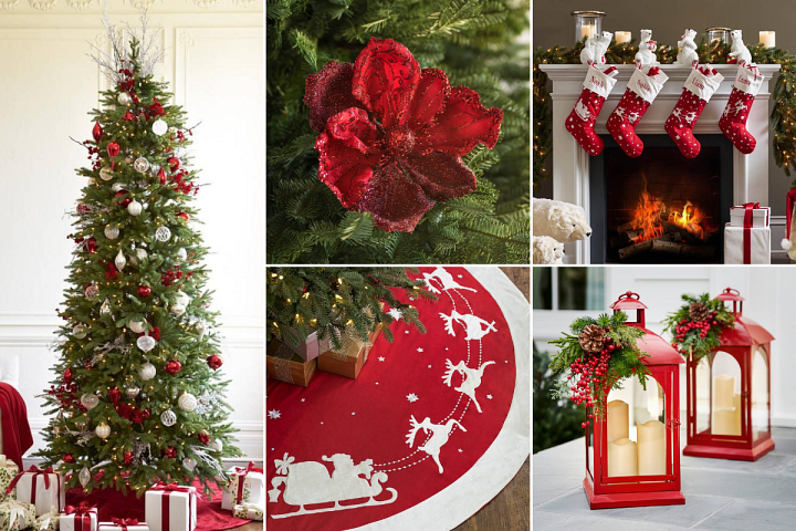 A set of photos featuring assorted Christmas decorations in red and white