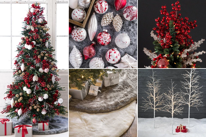 Nordic-themed Christmas decorating ideas combining neutral accents with red ornaments