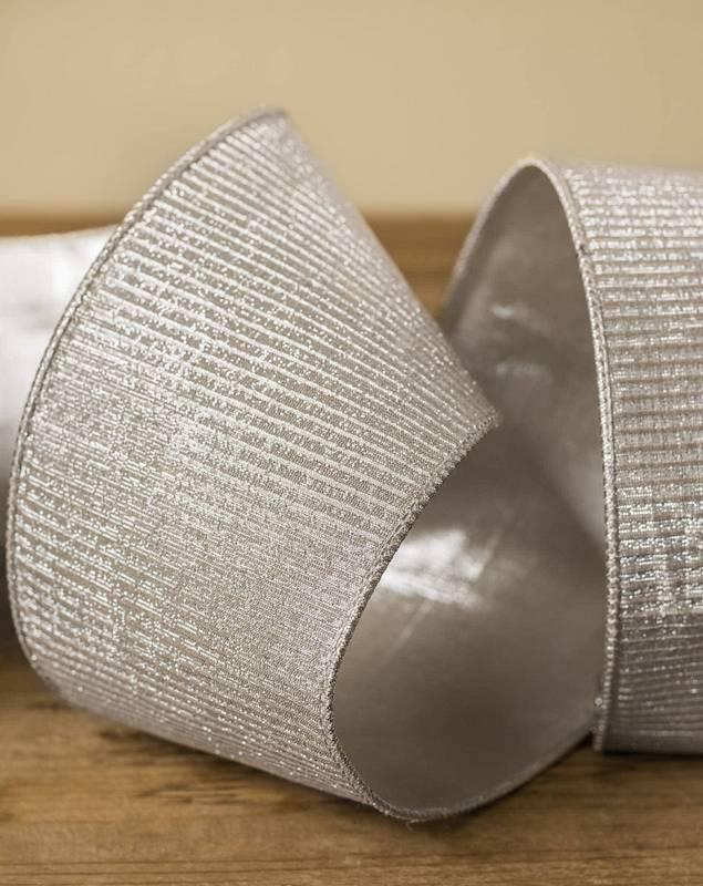 "4""x10 Yard Platinum Pleated Lamé Ribbon by Balsam Hill SSC 10"