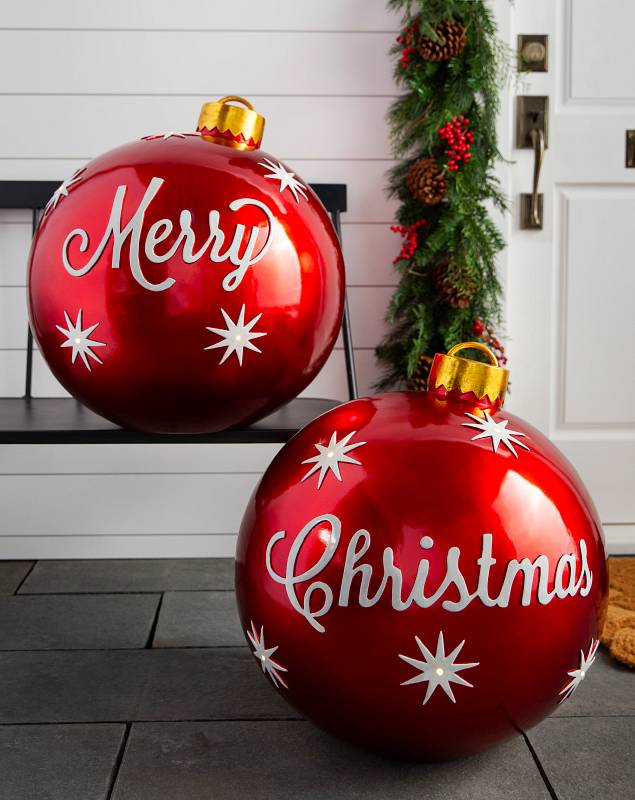 Outdoor Merry Christmas Ornaments, Set of 2 by Balsam Hill SSC 10