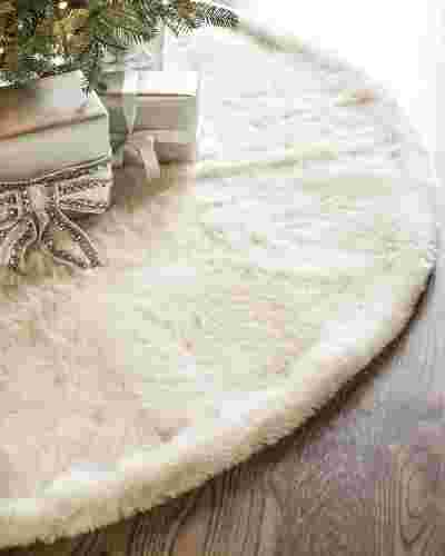 Ivory Lodge Faux Fur Tree Skirt by Balsam Hill SSC 10