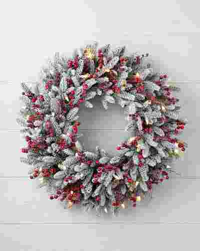 Red Berry Frosted Fraser Fir Wreath 30in LED Clear by Balsam Hill SSC