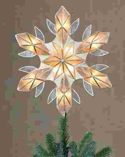Capiz Snowflake Lighted Christmas Tree Topper by Balsam Hill Lifestyle 10