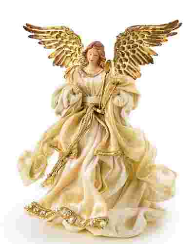 Gold Angel Christmas Tree Topper Child Main by Balsam Hill