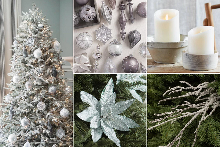 Winter-themed Christmas decorating with ivory, silver, and icy blue accents on a frosted tree