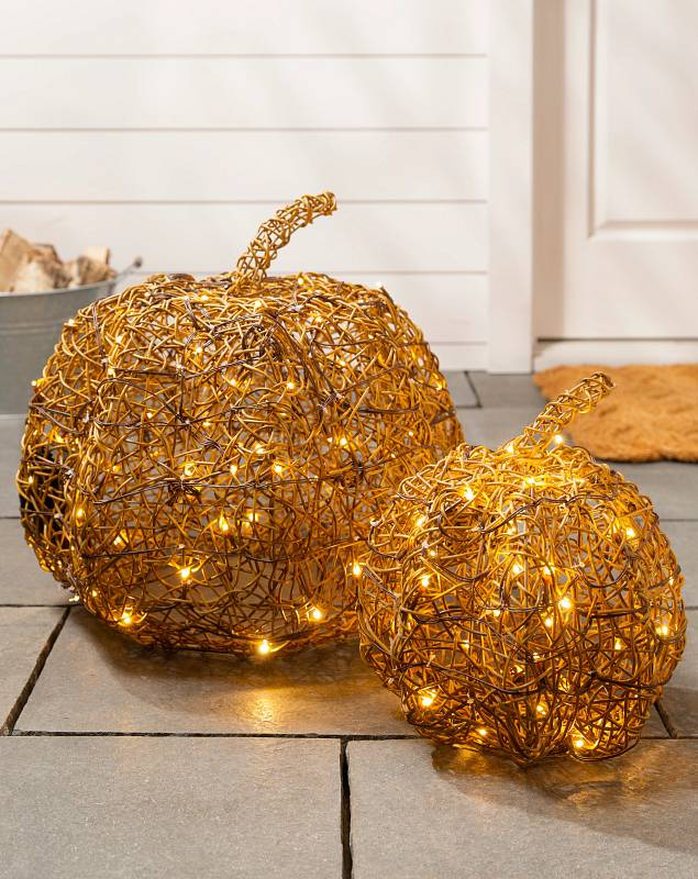 Outdoor LED Wire Pumpkins Set of 2 SSC by Balsam Hill