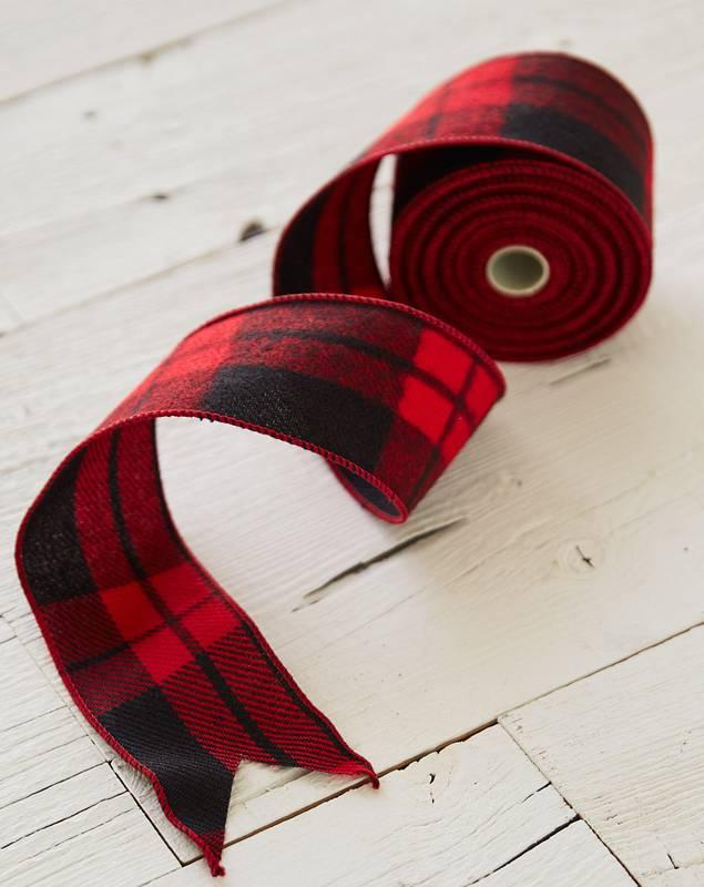 "2.5""x10 Yards Red Plaid Ribbon by Balsam Hill Closeup 10"
