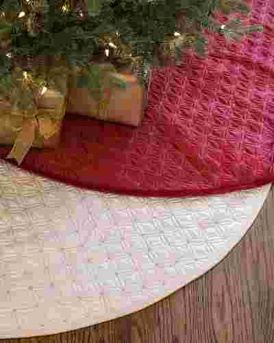 48in Ivory Lancaster Quilted Tree Skirt by Balsam Hill Main