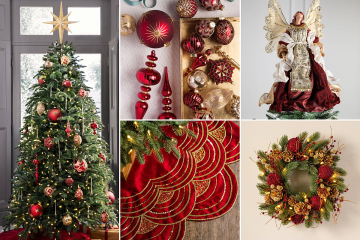 A collage of photos featuring Christmas tree decorations in burgundy and gold