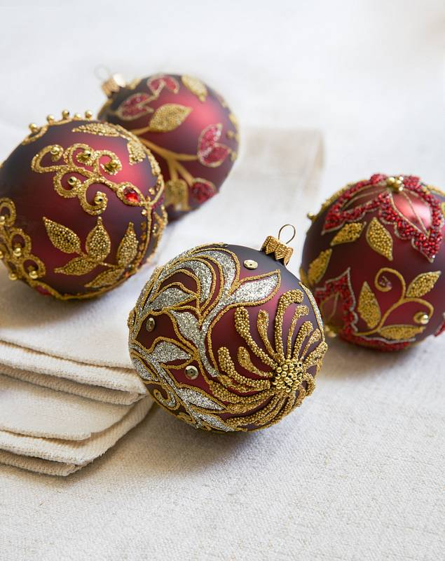 Burgundy and Gold Decorated Glass Ball Ornament Set, 4 Pieces by Balsam Hill Closeup 10