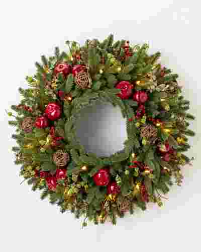 26 INCHES CLEAR LED BH Norway Spruce Wreath by Balsam Hill SSC