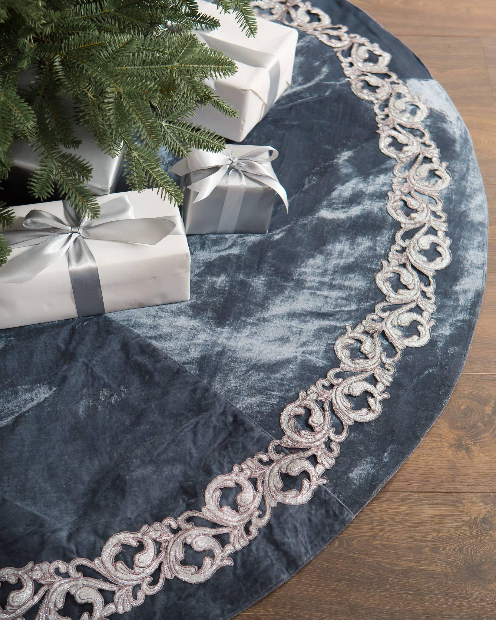 French Blue Velvet Tree Skirt | Balsam Hill