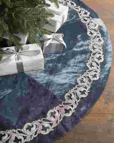French Blue Velvet Tree Skirt by Balsam Hill SSC 10