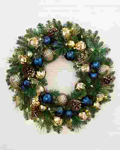 Outdoor Sapphire and Gold Wreath by Balsam Hill SSC