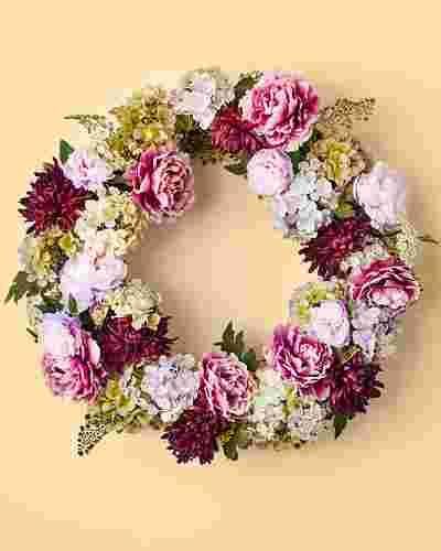 Purple Peony & Hydrangea Wreath by Balsam Hill SSC 10
