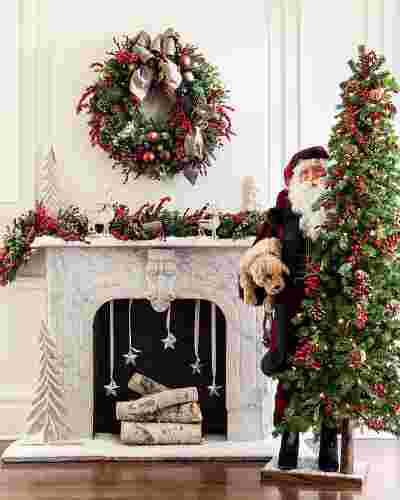 Life-Size Santa With Dog Figure by Balsam Hill SSC 10