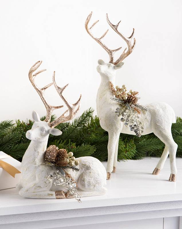 Winter Frost Tabletop Deer Set of 2 by Balsam Hill