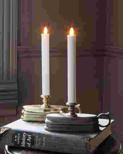 Brushed Bronze Battery-Operated Window Candles, Set of 2 by Balsam Hill