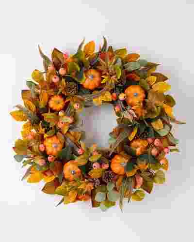 Pumpkin and Eucalyptus Wreath SSC by Balsam Hill