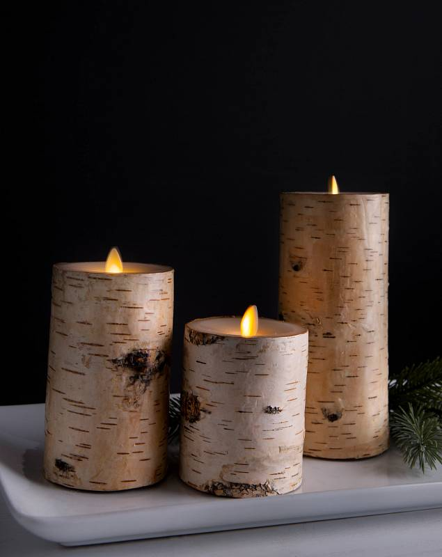 Miracle Flame LED Birch Candle by Balsam Hill