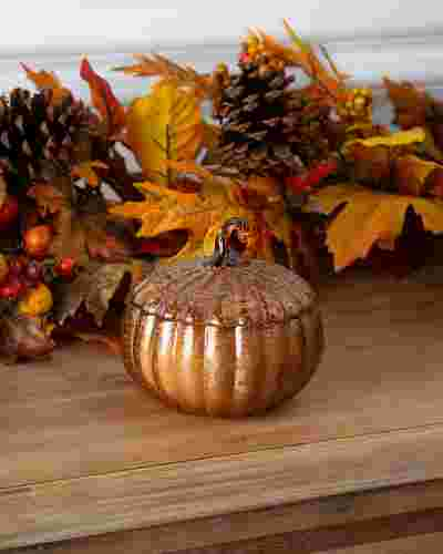 Small Glass Pumpkin Spice Scented Candle by Balsam Hill
