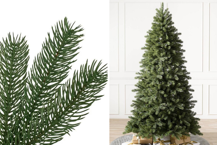 close-up and wide shots of Balsam Hill Woodland Spruce Christmas tree