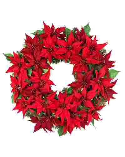 Outdoor LED Poinsettia Wreath by Balsam Hill SSC 20