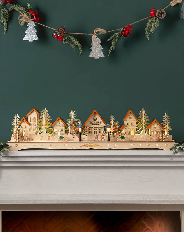 Wooden Christmas Mantel Village by Balsam Hill SSC