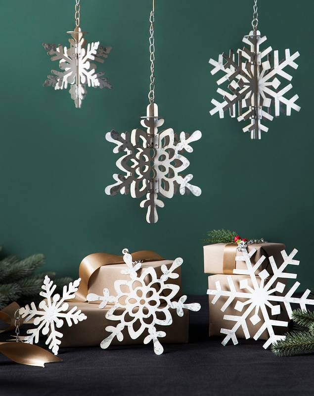 Rustic Galvanized Snowflake Ornaments Set of 6 by Balsam Hill SSC