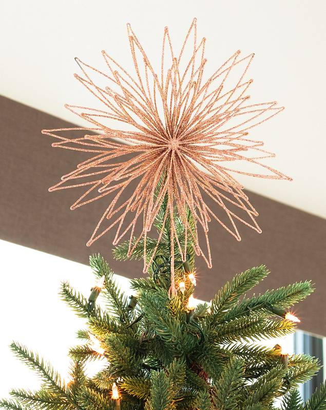 Rose Gold Floral Burst Metallic Christmas Tree Topper by Balsam Hill SSC 20