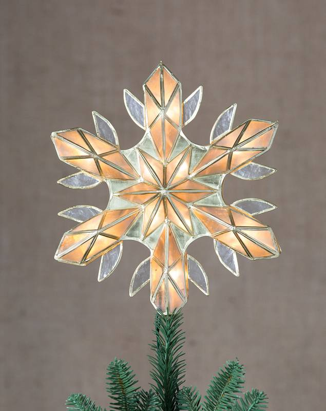 10in Capiz Snowflake Lighted Christmas Tree Topper by Balsam Hill SSC 10