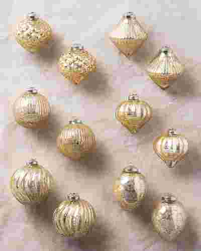 Gold Crackle Ornament Set 12 Pieces by Balsam Hill SSC