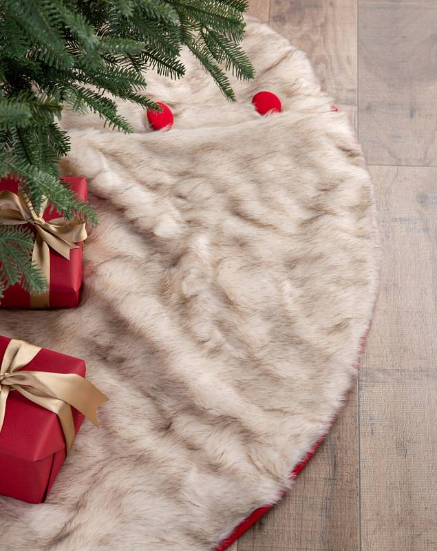 Arctic Holiday Faux Fur Tree Skirt by Balsam Hill SSC 10