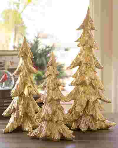 Golden Christmas Tabletop Trees, Set of 3 by Balsam Hill SSC 10