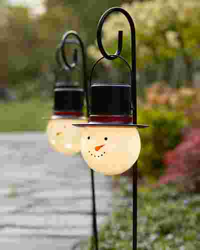 Snowman Solar Powered Pathway Lights Set of 2 by Balsam Hill