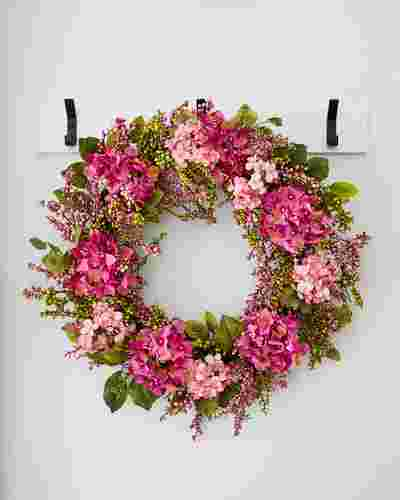 Outdoor Pink Hydrangea Berry Wreath by Balsam Hill SSC