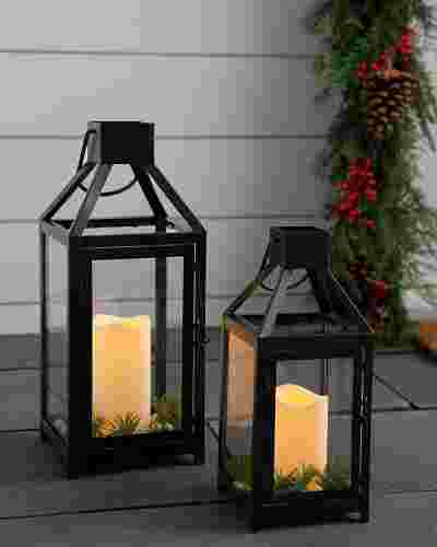 White Berry Spruce Lantern Set of 2 by Balsam Hill