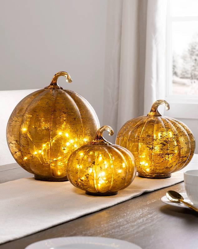 Glowing Glass Pumpkins Set of 3 SSC by Balsam Hill