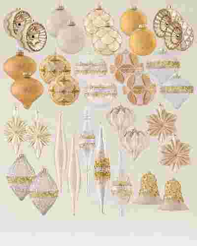Gold and Silver Glass Finial Ornament Set, 20 Pieces by Balsam Hill SSC 10