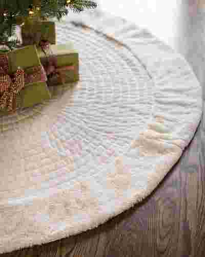 Ivory Berkshire Quilted Tree Skirt by Balsam Hill SSC 10