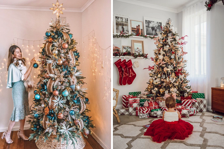 Two decorated Christmas trees with assorted colors and ornaments