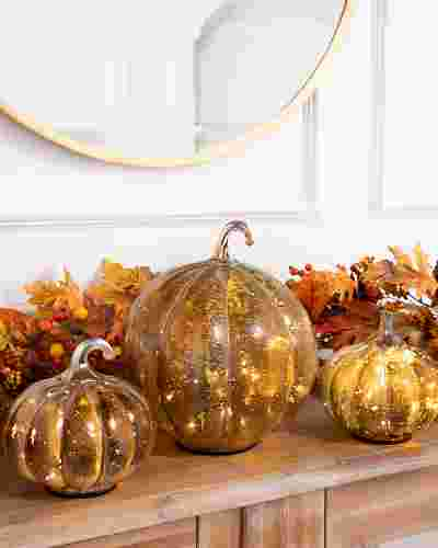 Iridescent Glass Pumpkins by Balsam Hill