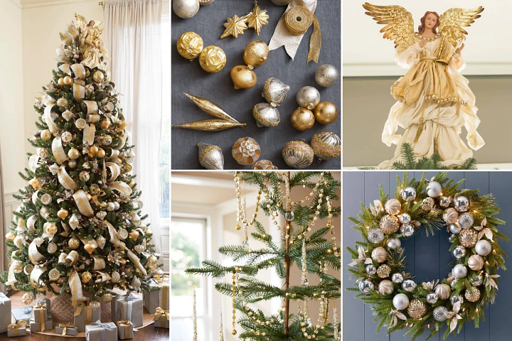 Christmas decorating ideas using silver and gold ornaments and accents for Christmas trees and wreaths