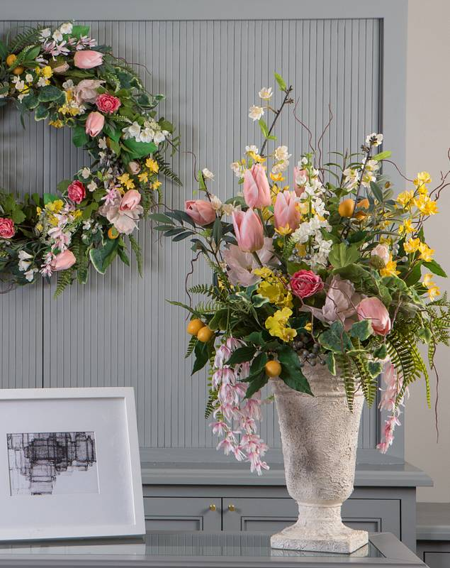 Spring in Bloom Arrangement and Wreath by Balsam Hill Lifestyle 10